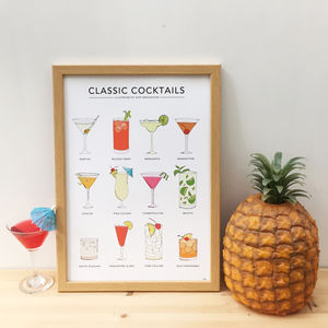 'Classic Cocktails' Print - drinks connoisseur