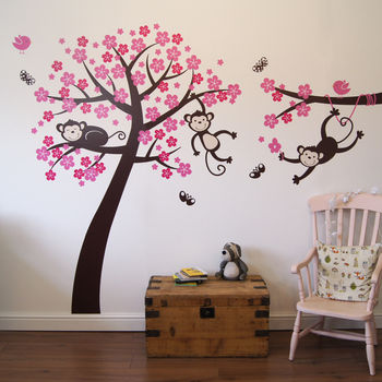 tree, monkies and butterflies in brown - birds and blossom in pink and magenta