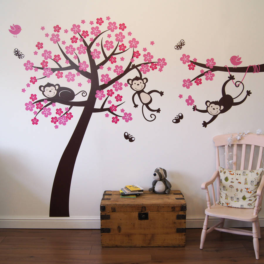 Monkey blossom tree wall stickers by parkins interiors tree monkies and butterflies in brown birds and blossom in pink and magenta monkey blossom tree wall stickers amipublicfo Image collections
