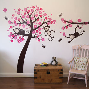 Monkey Blossom Tree Wall Stickers