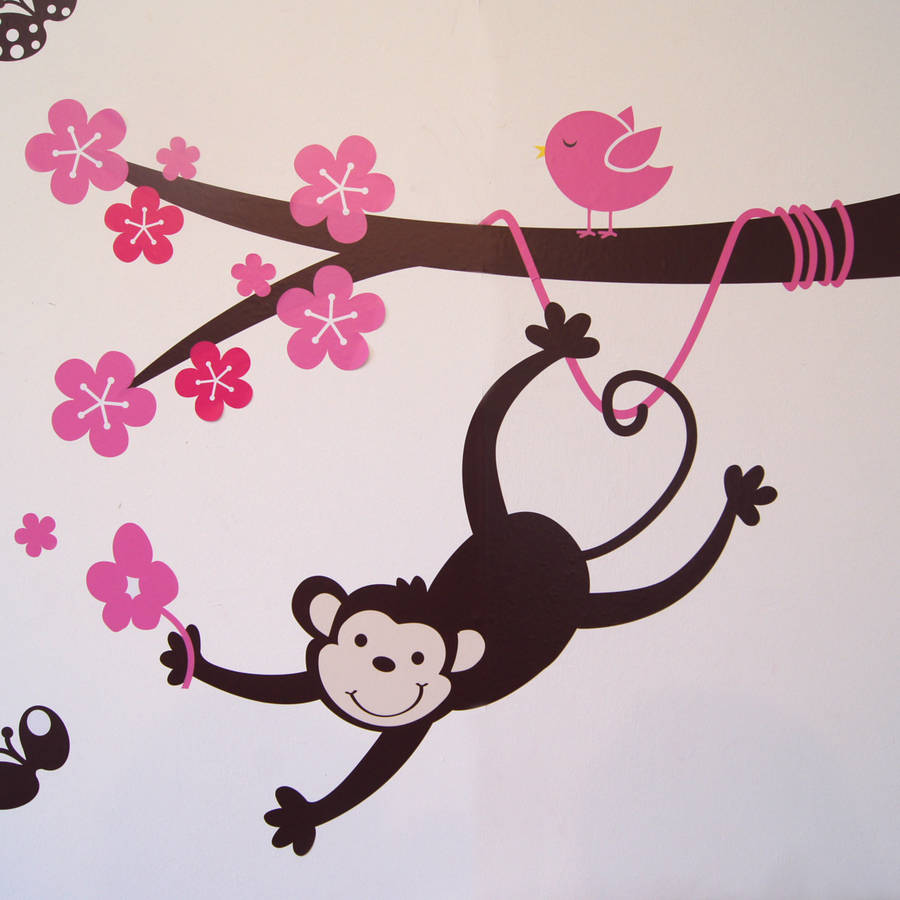 monkey blossom tree wall stickers by parkins interiors