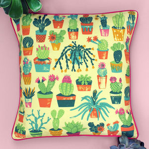 Cactus Print Cushion - bedroom