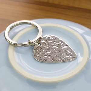 Personalised Hammered Effect Silver Plectrum Keyring