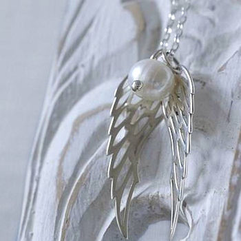 Sterling Silver And Pearls Angel Wings Necklace