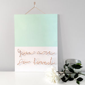 'You Are So Loved' Wire Wall Plaque - less ordinary wall art