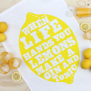 Gin And Tonic Lemon Print Tea Towel