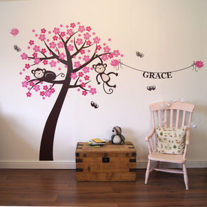 Personalised Monkey Blossom Wall Stickers - prints & art sale