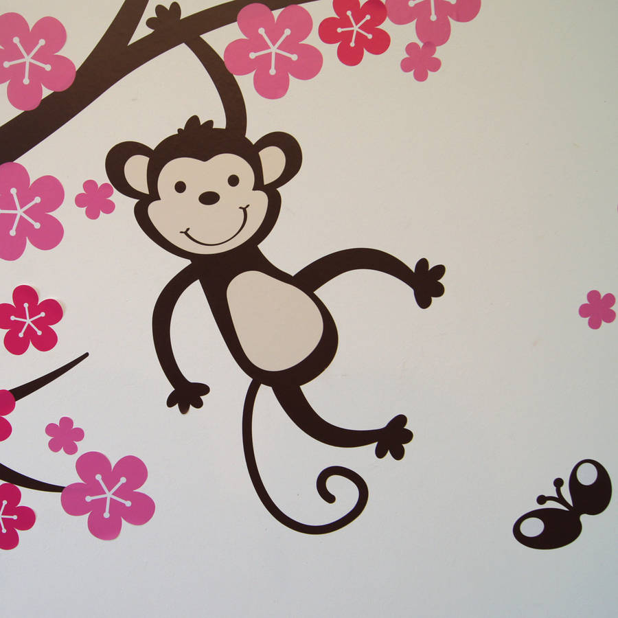 personalised monkey blossom wall stickers by parkins