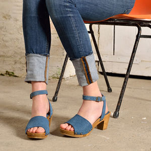 Anya Blue Suede And Wood Sandals - shoes