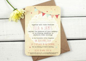 Bunting And Lace Gem Evening Invite - wedding stationery