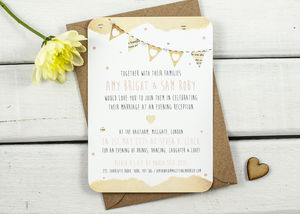 Bunting With Pearls Evening Invite - wedding stationery