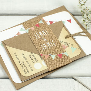 Bright Burlap Bunting Wedding Invitation Bundle - wedding stationery