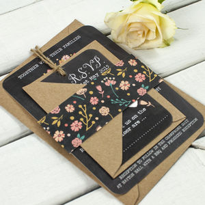 Floral Chalkboard Wedding Invitation Bundle - invitations