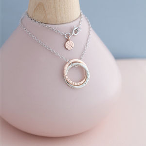 Personalised 9ct Rose Interlinking Halo Necklace - rose gold jewellery