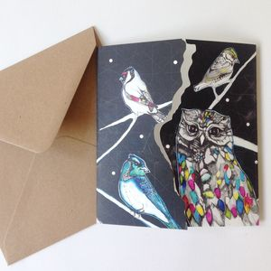 Owl Illustration Square Greeting Card
