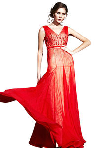 Eleanor Red Beaded Sleeveless Chiffon Evening Dress