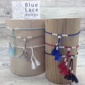 Handmade Anklet Silver And Tassel 12 Colours