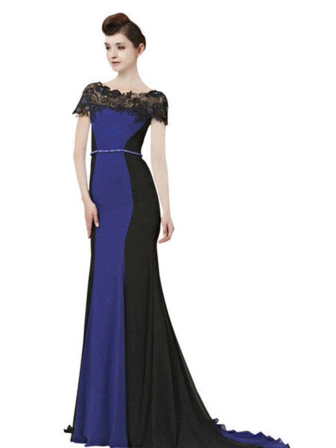 Inna In Black And Blue Evening Dress With Lace Neckline