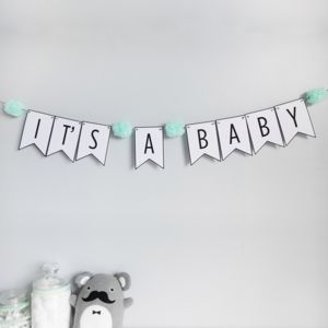 'It's A Baby' Bunting With Pom Poms - decoration