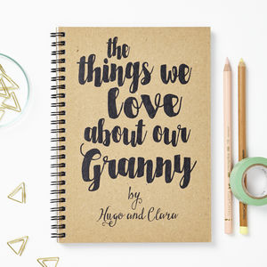 Personalised 'Things We Love' Notebook - gifts for grandparents