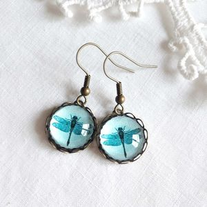 Turquoise Glass Dragonfly Earrings - earrings