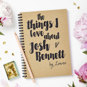 Personalised 'Things I Love' Notebook - love tokens for him