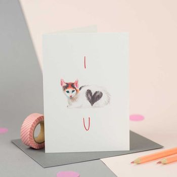 'I Love You' Illustrated Kitty Card