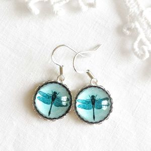 Silver And Turquoise Glass Dragonfly Earrings - earrings