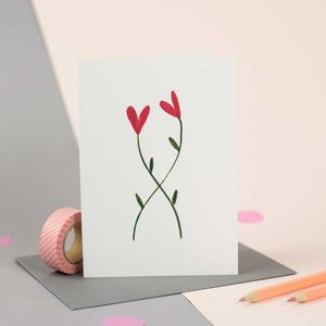 Illustrated Entwined Flowers Card