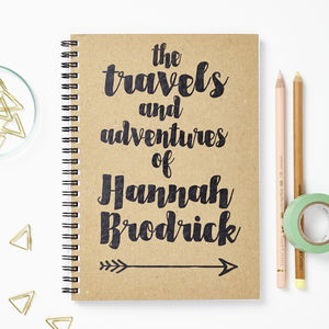 Personalised Travel And Adventure Journal - office & study