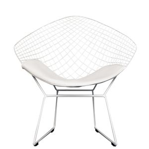 A White Chrome Diamond Retro Modern Chair - furniture