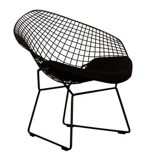 Black Chrome Retro Bertoia Style Mesh Chair - dining room