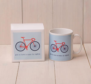 Got To Love A Man In Tights Bicycle Mug - mugs