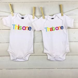 This One And That One Twin Babygrow Set