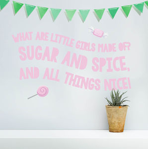 'Sugar And Spice' Pastel Children's Wall Sticker