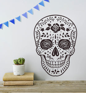 Day Of The Dead Mexican Skull Vinyl Wall Sticker - decorative accessories