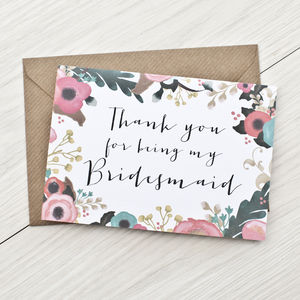 Bridesmaid Thank You Card - wedding cards