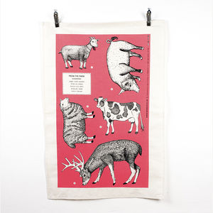 'From The Farm' Screen Printed Tea Towel - kitchen