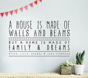 Personalised Family And Dreams Wall Sticker - wall stickers