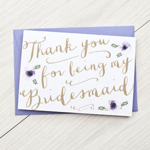 Bridesmaid Card - wedding thank you gifts