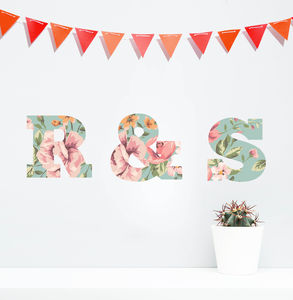 'Personalised Floral Lettering' Wall Stickers - living room