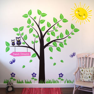 Tree With Owls And Butterflies Wall Stickers - office & study