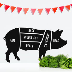 Butcher's Pig Wall Sticker - living & decorating