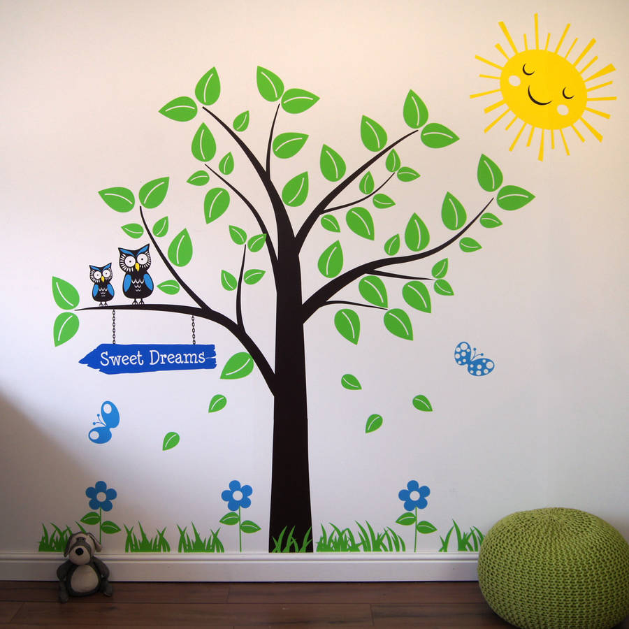 tree with owls and butterflies wall stickers by parkins