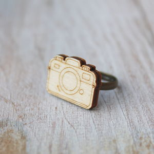 Wooden Camera Ring - children's jewellery