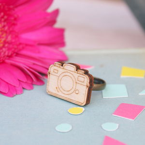 Wooden Camera Ring - women's jewellery