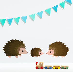 Cute Children's Hedgehog Wall Sticker Set