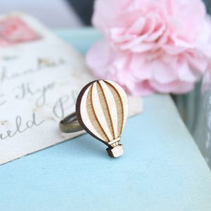 Wooden Hot Air Balloon Ring - children's jewellery