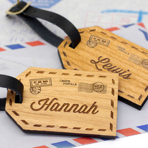 Personalised Wooden Couples Luggage Tags - gifts for couples