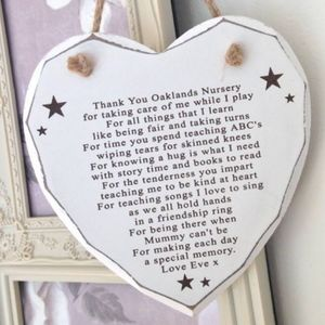 Thank You Nursery Personalised Heart Decoration - baby's room